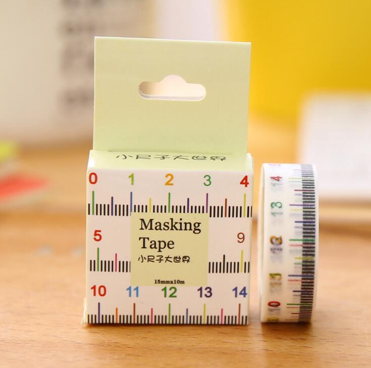 1.5cm Wide Novelty Measure Ruler Washi Tape Adhesive Tape DIY Scrapbooking Sticker Label Masking Tape adjustable ruler measure rc car height