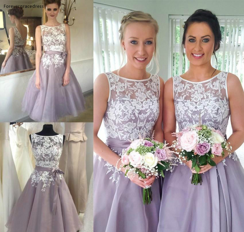 2019 Cheap Lilac Lavender Short Bridesmaid Dress Summer Country Garden Formal Wedding Party Guest Maid Of Honor Gown Plus Size