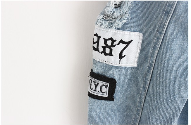 Women Frayed Denim Bomber Jacket Appliques Print Where Is My Mind Lady Vintage Elegant Outwear Autumn Fashion Coat 11