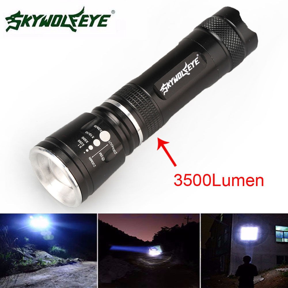 Super 3500 Lumen 3 Modes CREE XML T6 LED 18650 Flashlight Torch Lamp Light Power Dropshipping фонарик cree xml t6 18650 super light