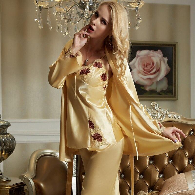 XIFENNI Brand Women Satin Silk Pajamas Lace Embroidery Sleepwear Three  Piece Pyjama Sets Imitation Silk Pijama Female 1533-in Pajama Sets from  Underwear ... 2e2b8894e