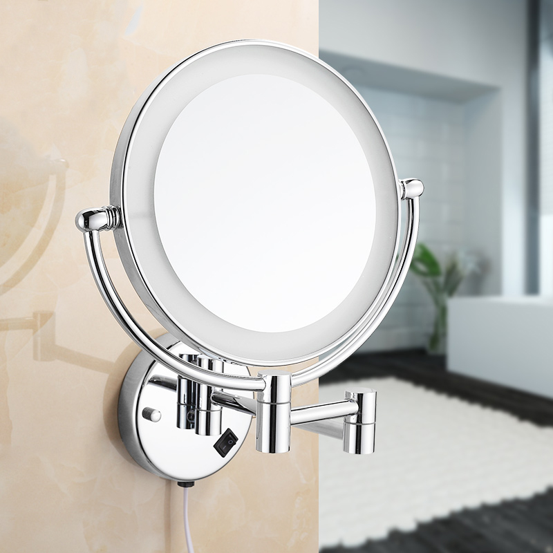 Bath Mirrors Chrome Magnifying Bathroom Wall 9 Inch Brass Round LED Makeup Lighting Mirror Illuminator Make-up Mural 2068 1