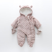 2017 Winter New Baby Girls Polka Dot Footies/Outerwear Kids Cotton-Padded Jackets Girls Thick Zipper Hooded Bodysuits One-pieces