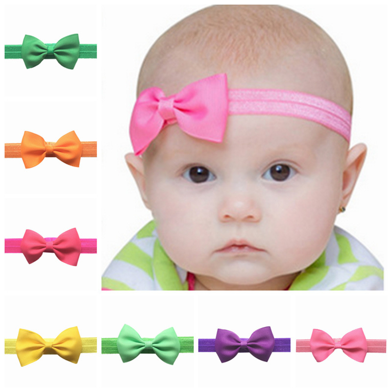 2017  girl hair accessories flower mini 2.5 satin ribbon bow newborn children elastic headbands tiara hair band 20 colors headband baby girl hair bows newborn elastic hair band kids cute children hair accessories ribbon head band with dot 2pcs set