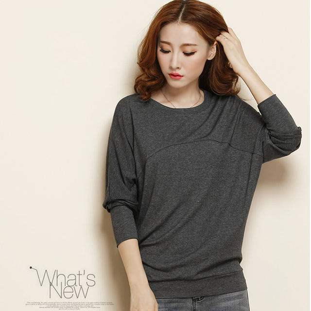 Women spring plus size O neck Full Solid Batwing Sleeve Pullovers sweaters winter loose hedging cotton soft sweaters