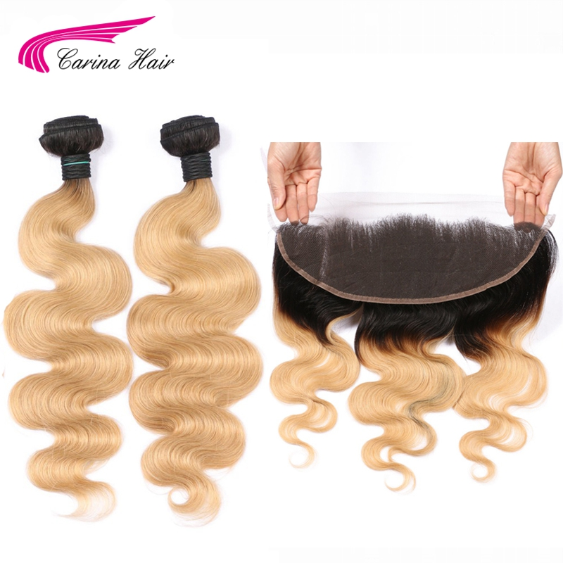 Carina 1B 27 Color Dark Roots Brazilian Body Wave Bundle with Frontal Honey Blonde Remy Human