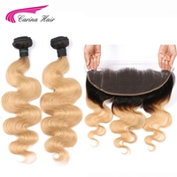 Carina 1B 27 Color Dark Roots Brazilian Body Wave Bundle with Frontal Honey Blonde Remy Human Hair 2 Bundles with 13*4 Frontal