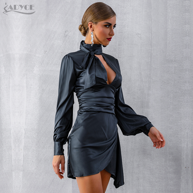 Black Long Puff Sleeve Mini Club Dress  4