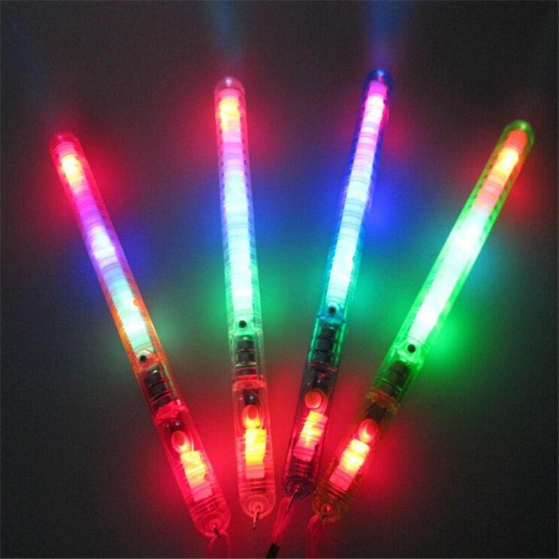 10pcs / lot Barvita LED utripajoča nočna svetilka sijaj palice palice igrače koncertna zabava utripajoče potrebščine mavrične luči palice igrače