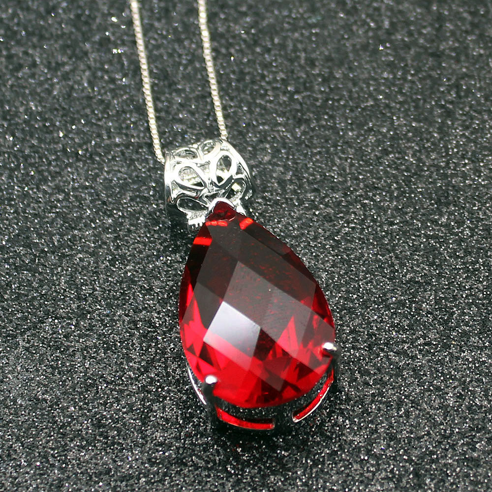 Chain Necklaces Official Website Wedding Gifts Gentle Redcoral Garnet 925 Sterling Silver Women Jewelry Pendant Necklace 19 Inch Tf800 To Have A Unique National Style Necklaces & Pendants