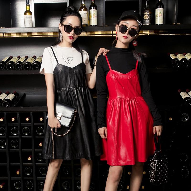 2019 New Autumn Winter Womens Dress Fashion Solid Genuine Leather Suspender Dress Female Elegant Slim Fit Pleated Dress M 3XL