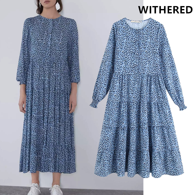 Withered Dress Women Vestidos Vintage Geometric Printing O-neck Loose Party Vestidos De Fiesta De Noche Maxi Dress Balzer