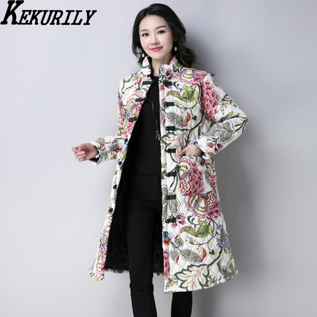 5955369ff3 KEKURILY women cotton linen warm thick whiter coat floral elegant noble  vintage parkas female ancient Chinese style jacket