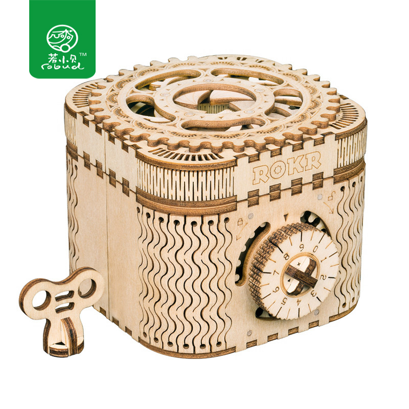 Robud Mechanical Model DIY 3D Wooden Puzzle Game Treasure Box / Calendar Model Toy Gift For Boys & Girls LK502 For Dropshipping