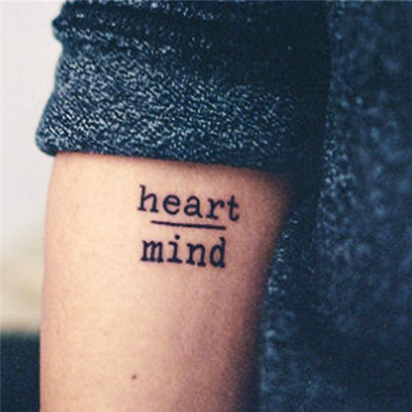 HC1113 Водонепроницаемый временные татуировки наклейки мужество страх сердце разума Письма Дизайн переноса воды татуировки Harajuku, временная татуировка
