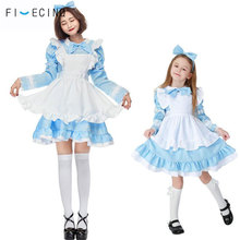 Alice in Wonderland Costume Women Kid Lolita Dress Blue Maid Cosplay Fantasia Carnival Halloween Anime Cartoon Cute Party Fancy