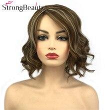 купить StrongBeauty Short Wavy Blonde Wig Heat Resistant Synthetic Wigs Women's Hair дешево