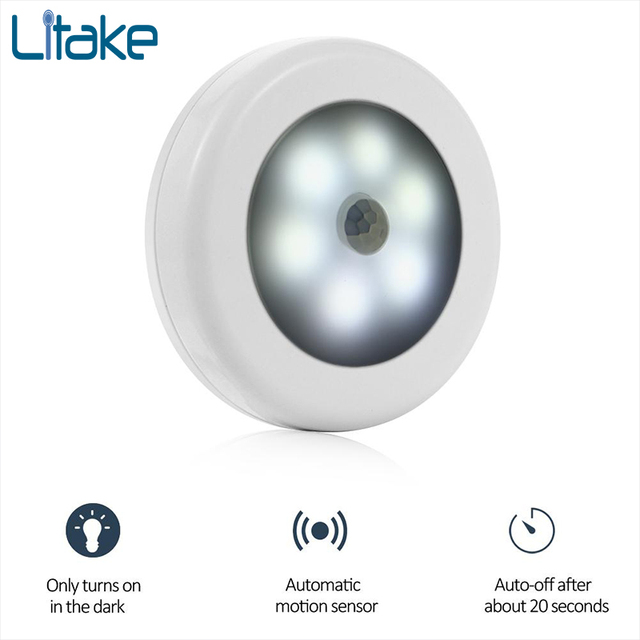 Litake 6 LED Infrared PIR Motion Sensor Night Light Wireless Detector
