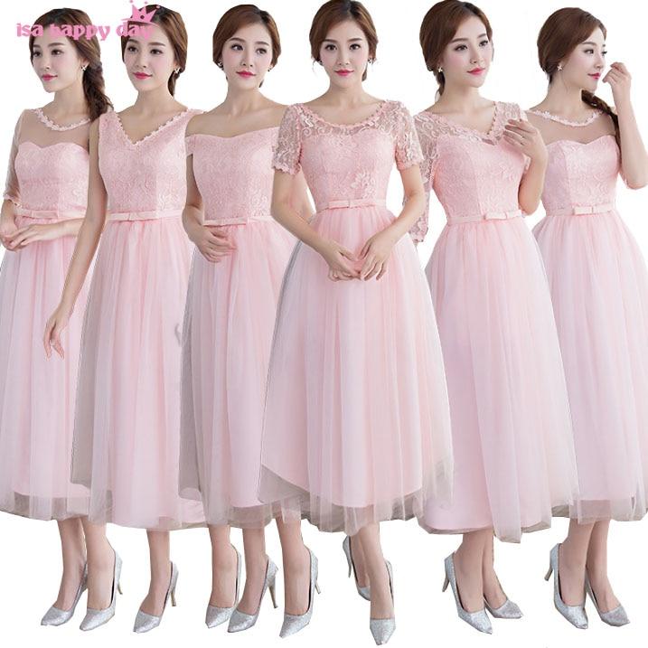 pink cheap lace up bridesmaid robe tulle engagement dinner dress brides  maid dresses 2019 under 50 34bce5c0c76d