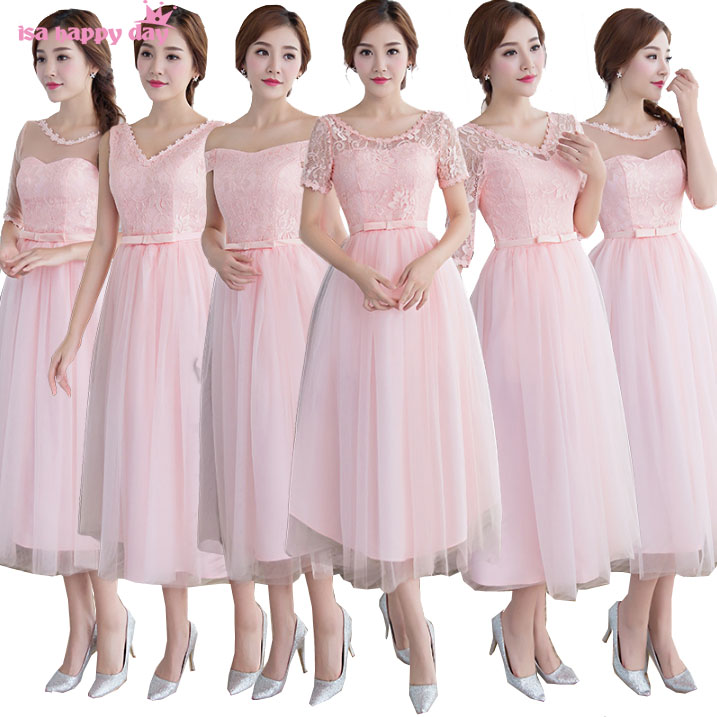 Pink Cheap Lace Up Bridesmaid Robe Tulle Engagement Dinner Dress Brides Maid Dresses 2019 Under 50 For A Wedding H3894