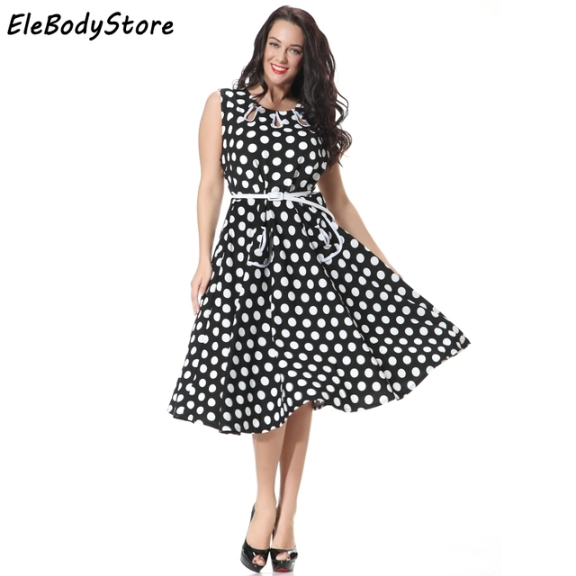 ELEBODYSTORE 5XL 6XL 7XL Plus Size 2017 Women Vintage 50s Polka Dot Casual Sexy Summer Dress Womens Retro Midi Dresses Clothing