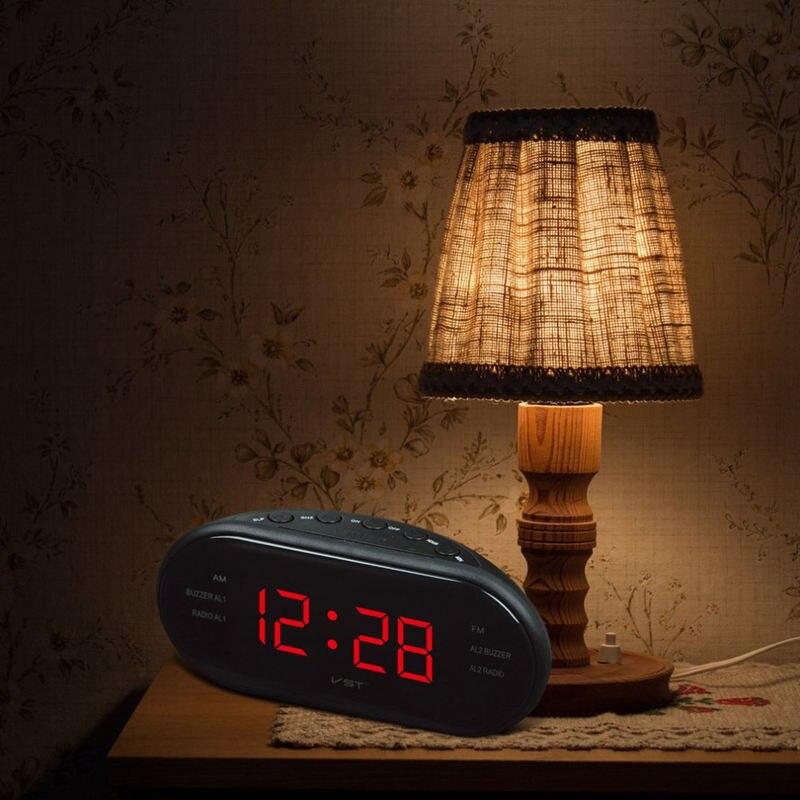 Vst-902 220 в Eu Plug Am Fm двухчастотный радио Будильник цифровые светодиодные часы светящиеся часы Повтор Электронные Домашние настольные часы