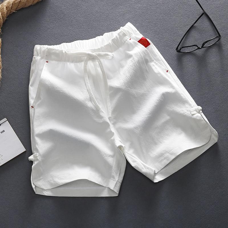 Casual Shorts Linen Drawstring Bermuda Plus-Size Summer Cotton Man 5XL Solid Soft Flax