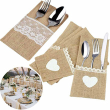 1pc Jute Hessian Burlap Linen Lace Cutlery Holder Vintage Birthday Wedding Party Decorations Tableware Supplies