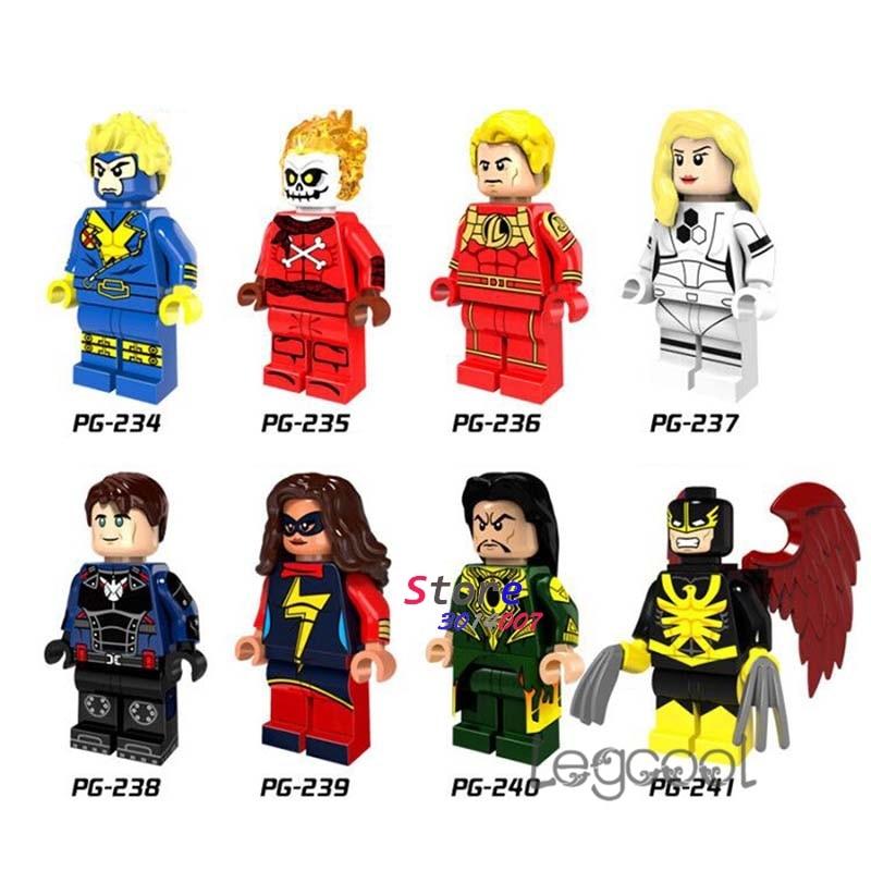 1 Pcs Model Bouwstenen Cijfers Superhero Havok Blazing Skull Human Torch Ms Marve Mandarijn Nighthawk Speelgoed Voor Kinderen Gift
