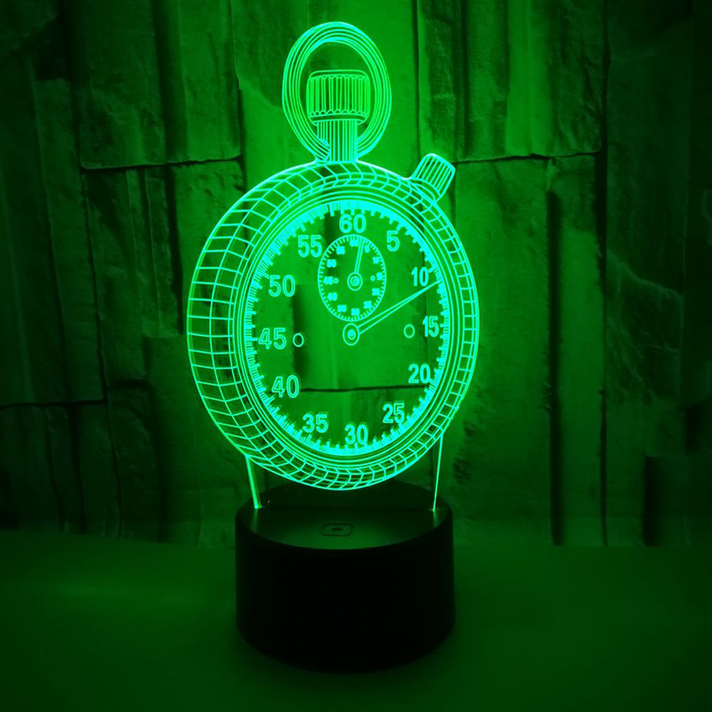 Home Table Desk Lamp 3D LED Hologram Illusion Night Light Changing Bedroom Lamp Alarm Clock Shape Light Touch Switch цена
