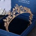 2017 Nova Moda Do Ouro Do Vintage Flor Nupcial Crown Charme Rhinestone Diadema Casamento Acessórios Para o Cabelo Tiaras para As Mulheres por atacado