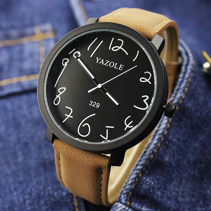 100% New Stylish YAZOLE No.329 Classic Big Dial PU Leather Quartz Backlight Wristwatch Watch for Men Male Fashion OP001