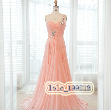 Real-picture free shipping 2015 hot seller New design sweetheart Long One Shoulder custom size/color chiffon   Bridesmaid     Dresses