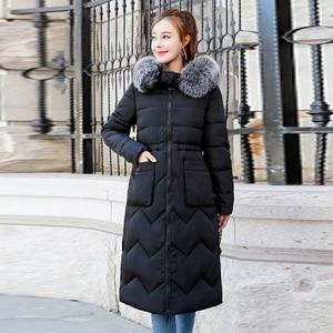 Image 3 - Chaqueta de invierno para mujer, abrigo largo con capucha de piel, Parka cálida acolchada de algodón, ambos lados, 2019