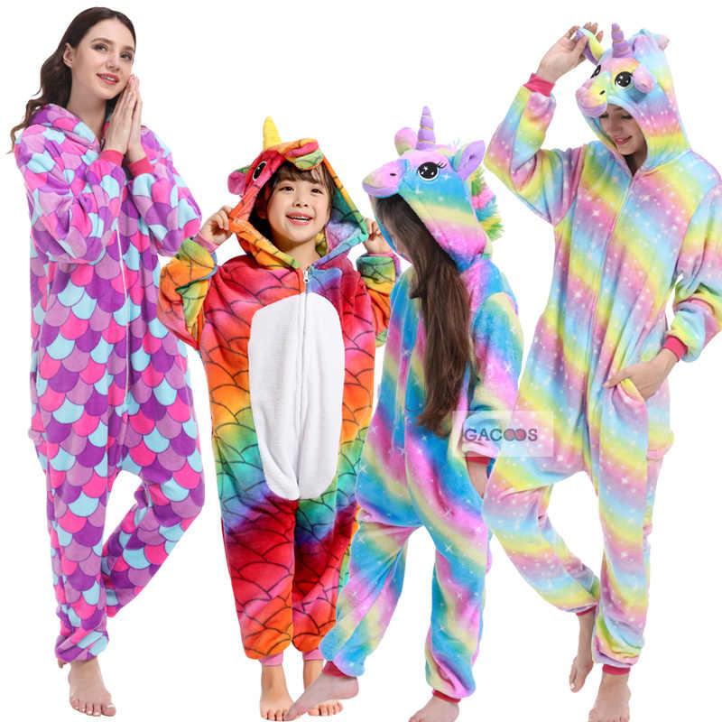 Для мальчиков и девочек, зимняя Пижама с дизайном «панда» Фланелевая пижама кигуруми Единорог взрослые комбинезоны Для женщин одежда для сна Детская Пижама с единорогом для детей