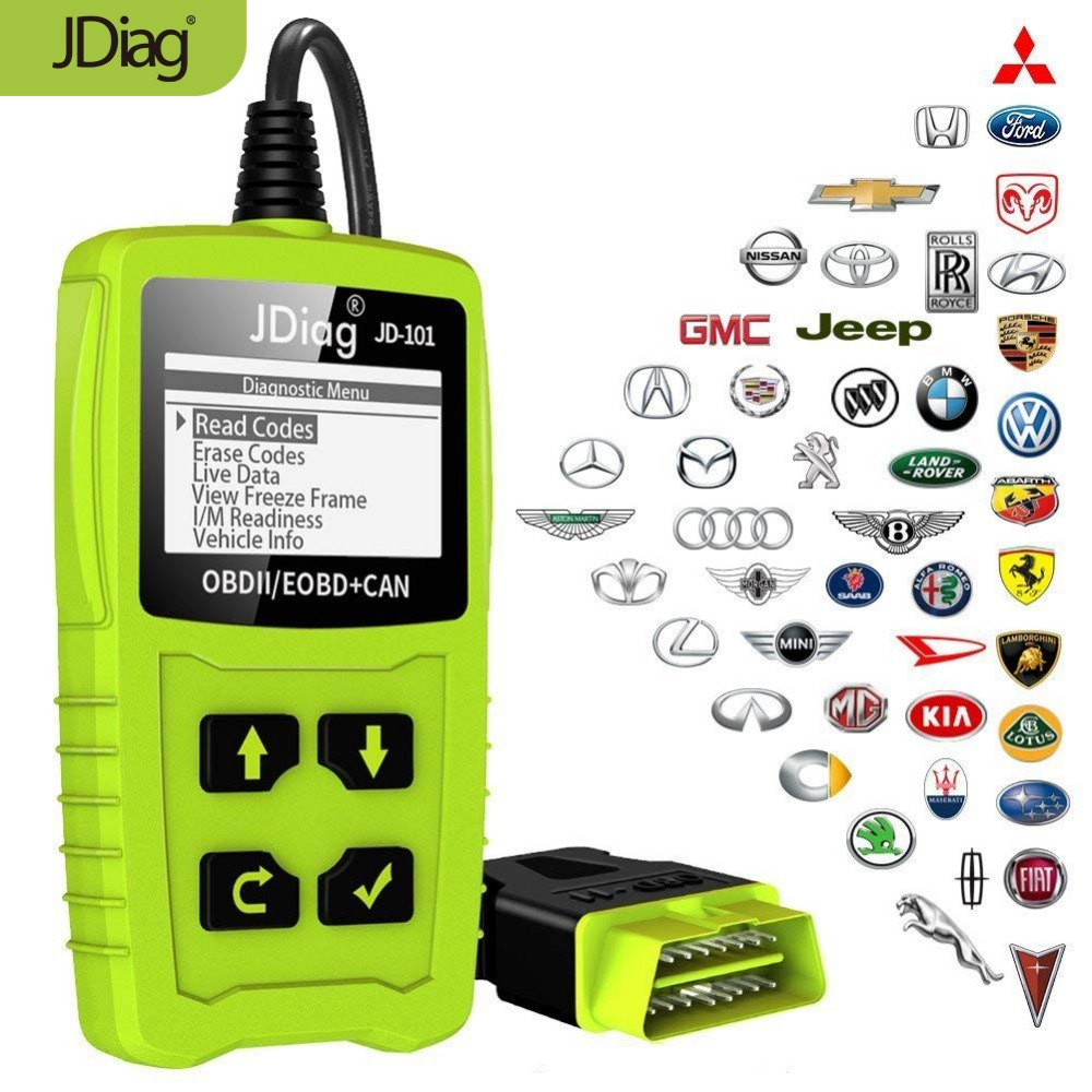 JDiag JD101 Code Readers Engine Scan Tool Check Engine Light Car Diagnostic Tool OBD2 Scanner Automotriz With Battery Test купить в Москве 2019