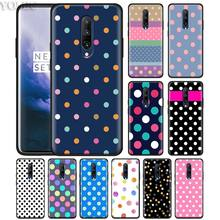 Polka Dots pink girly Phone Case for Oneplus 7 7Pro 6 6T Oneplus 7 Pro 6T Black Silicone Soft Case Cover