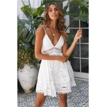 цена на ZOGAA Women Sexy White Lace Hollow Out Sundress 2019 Summer Deep V Neck Backless Evening Party Beach Vocation Mini Dress Vestido
