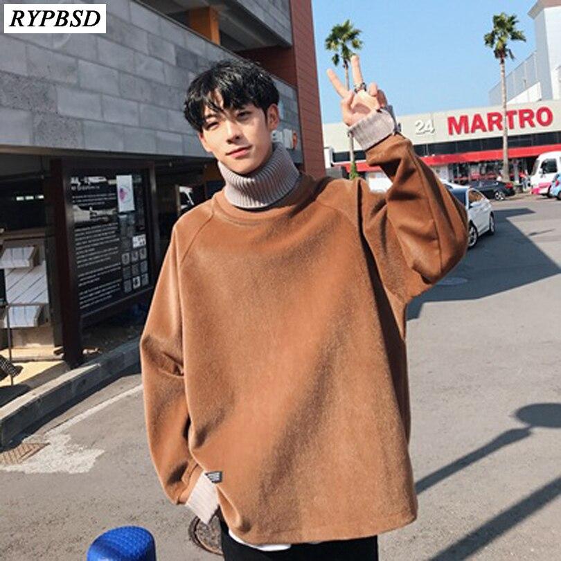Hommes Harajuku Hoodies 2019 Nouveau Automne Manches Longues Homme Japonais Streetwear Hip Hop Sweats à capuche Mâle Col Roulé À Capuche