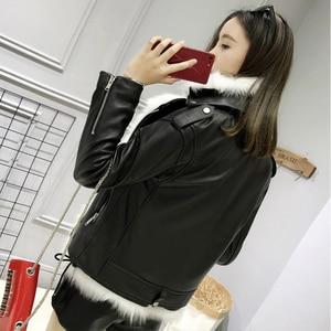 Image 4 - FTLZZ nouvelles vestes en cuir synthétique polyuréthane femmes blanc fausse fourrure gilet + noir Faux cuir Streetwear manteau court hiver femme neige vêtements dextérieur