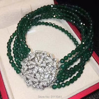 6rows freshwater pearl white round /green jade bracelet 8inch FPPJ wholesale beads nature