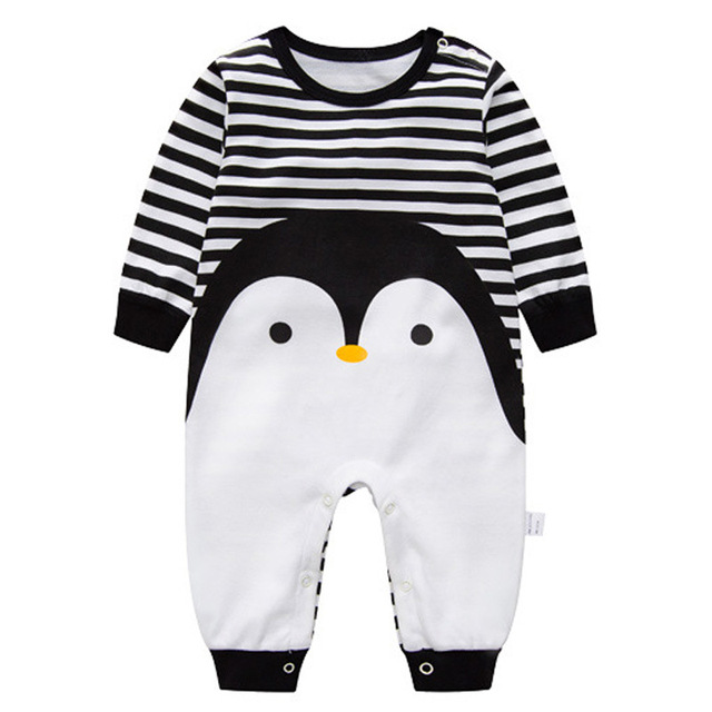 2019 Spring Autumn Baby Girl Brand Clothing Cotton Romper Clothes Children's Cartoon Penguin Baby Animal Girl Jumpsuit Romper 2