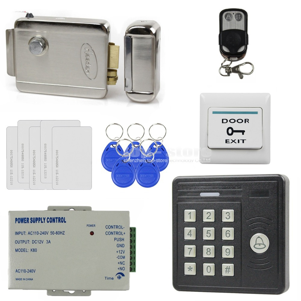 DIYSECUR Remote Control Waterproof 125KHz Rfid Card Reader Keypad + Electric Strike Lock Door Access Control Security Kit KS159 diy waterproof 125khz rfid door access control kit set electric strike lock 10 rfid card outdoor touch keypad access control