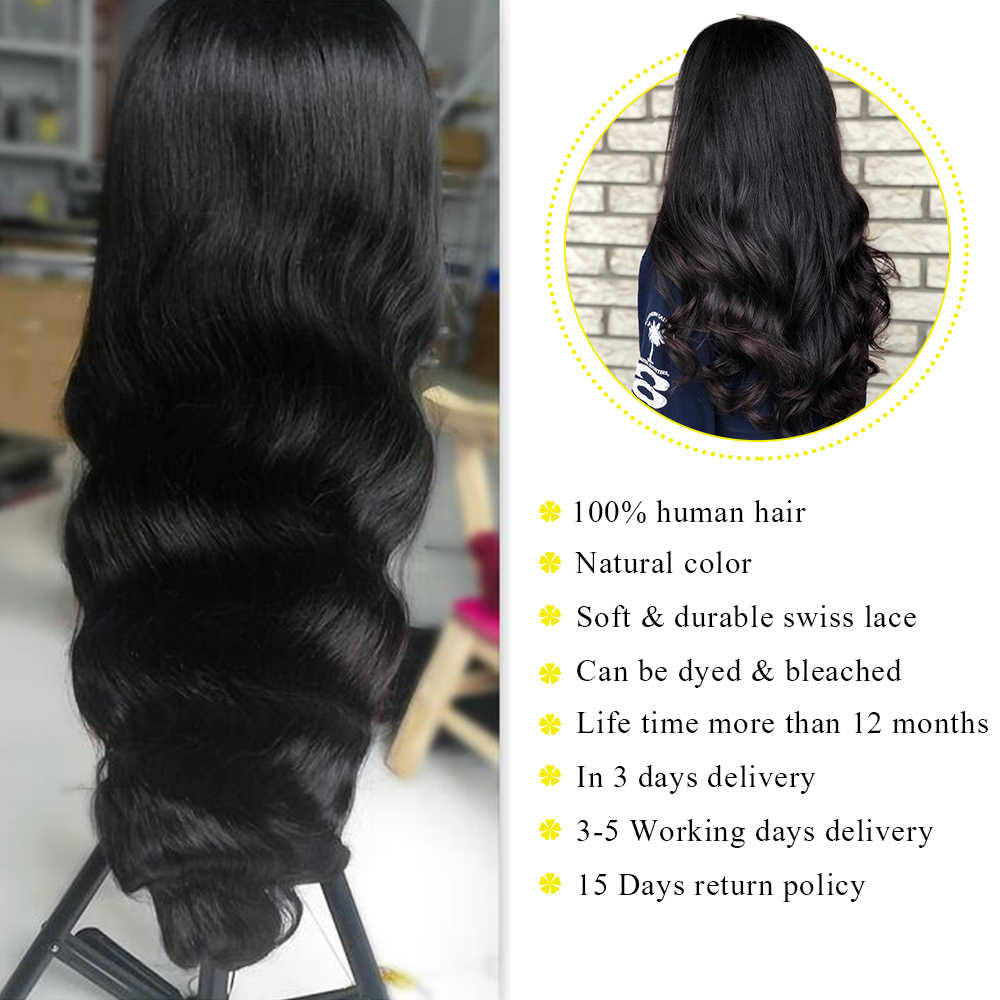 Uneed Peruvian Body Wave 360 Lace Frontal Wigs 8- 26 Inch Pre Plucked With Baby Hair Remy Human Hair Lace Front Wig Body Wave