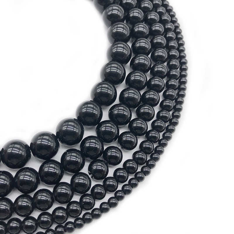 Wholesale Black Glass Beads Fashion 4/6/8/10/12mm Natural Stone Scattered Beads Diy Bracelet Neckace Jewelry Accessories Make