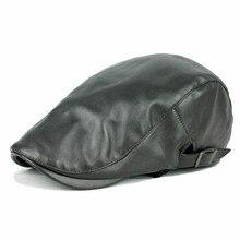 Осень и зима теплая шляпы для мужчин кожа берет Boinas Gorras Planas мужской береты 3 цветов для выбора
