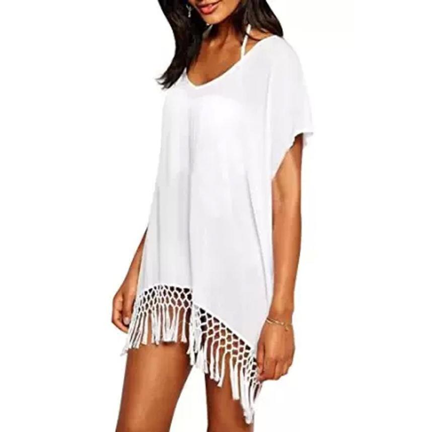 Mooistar #W030# 2017 Women Sexy Chiffon Swimwear Knitted Crochet Beach Dress Tassel meifeier 407 women s fashionable knitted chiffon blouse apricot l