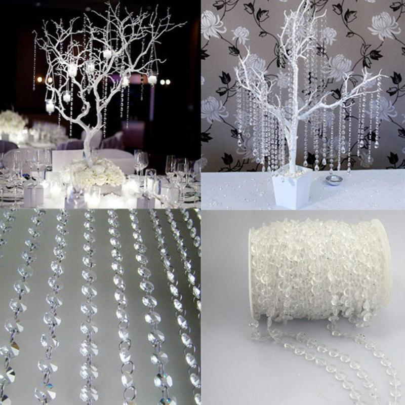 10m 33FT Garland Diamond Acrylic Crystal Bead Curtain Wedding DIY Party Decor Home Living Room Bedroom Decoration