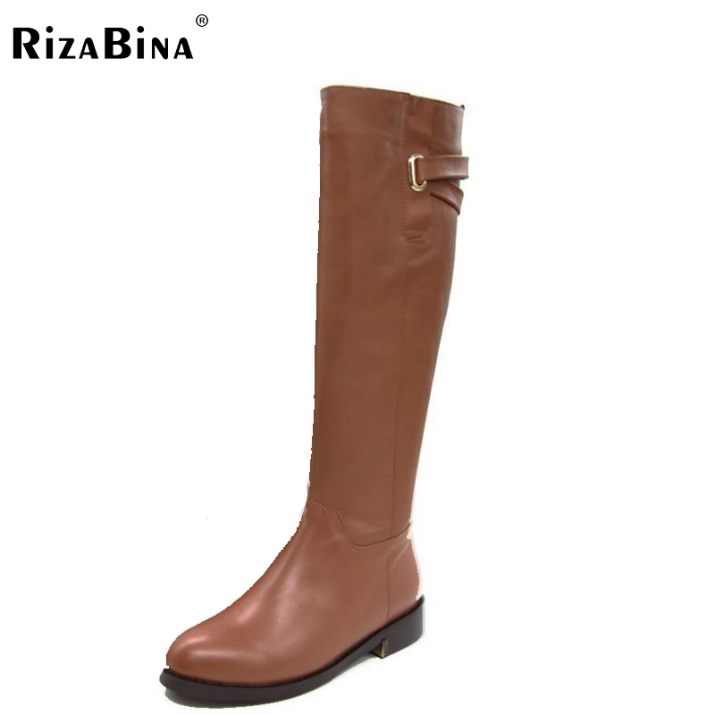 RizaBina Size 35-43 Winter Warm Over Knee Fur Buckle Brand Qaulity Real Leather Boots Lady Women Snow Shoes Footwear Boots R1494 serene handmade winter warm socks boots fashion british style leather retro tooling ankle men shoes size38 44 snow male footwear