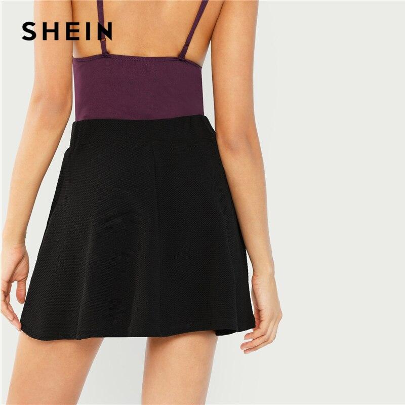 SHEIN Black Elastic Waist Textured Skirt Preppy Plain Fit and Flare A Line Skirts Women Autumn High Waist Short Minimalist Skirt 2